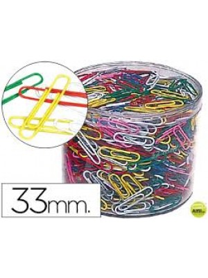 BOTE 500 CLIPS COLORES 33MM